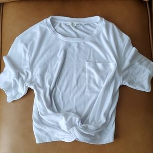 Aritzia wilfred free white twist top sz Large